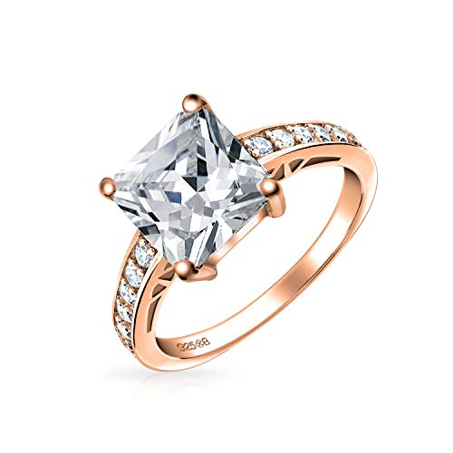 Bling Jewelry 3Ct Quadrat Princess Cut Solitär AAA CZ Verlobungsring Schmal Ebnen Band Rose Vergoldet Sterling Silber 925 Für Damen (Quadrat Cz Verlobungsring)