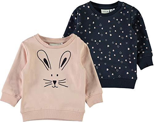 NAME IT Baby Mädchen Sweatshirt Doppelpack 2er Pack NBFSENA, Rose Cloud, 68