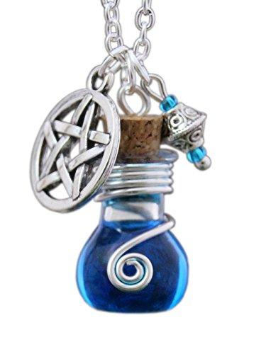 Katharina Fairytale Schutzamulett Damen Mädchen Kette Phiole Elixier der Hexe Tarja Amulett Talisman Gothic Anhänger Pentagramm Zierperle Blau