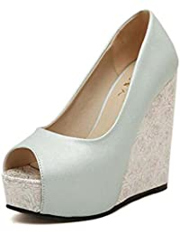 Zapatos de mujer PU verano bomba básica talones cuña talón peep toe para casual blanco luz azul ( Color : Light...
