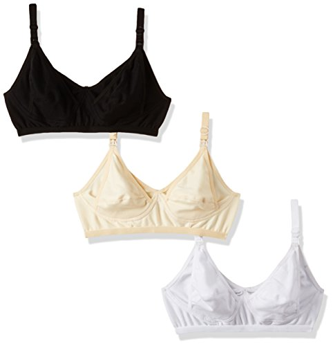 Fabme Non-Wired Nursing Bra (Pack of 3) (Po3-BR014-SK-WH-BK-S40)