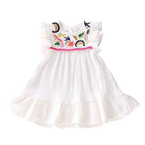 LEXUPE Neugeborenes Baby Kind mädchen säugling ärmellose Stickerei Blume Prinzessin Kleid Kleidung(Weiß,80) (Kleid Jeans Kitty Hello)