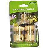 Tech Traders® Conector de latón conjunto (3piezas), conector de latón set de jardín manguera de agua de bloqueo rápido