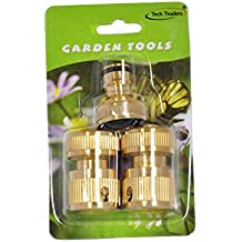 Tech Traders ® Brass Connector Set (3 Pieces),Brass Connector Set Garden Kit Water Hose Lock Quick Connect-LIFE TIME WARRANTY