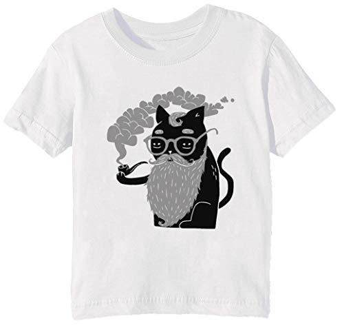 Schnurrhaare Und Rohr Kinder Unisex Jungen Mädchen T-Shirt Rundhals Weiß Kurzarm Größe 2XS Kids Boys Girls White XX-Small Size 2XS