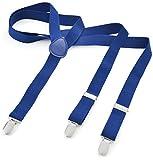 Herren Damen Long Hosenträger Y Form Style 3er Clips elastisch Schmal Unifarbe und Bunt mit verschiedenen Motiv, Blau (Marine),Gr. One Size