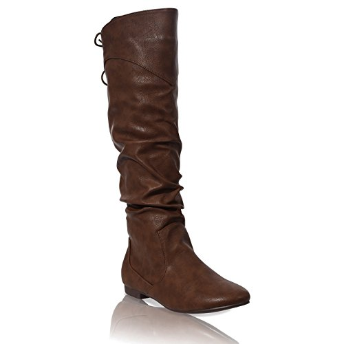 Details about WOMENS FLAT ZIP UP SLOUCH MID CALF LACE RIDING CASUAL...