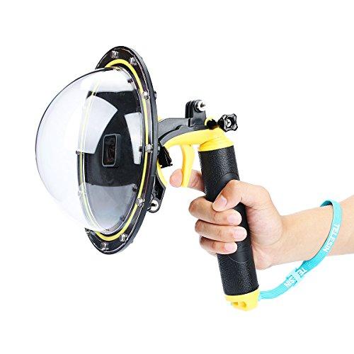 Galleria fotografica AFAITH Accessori per fotocamera TELESIN GoPro Dome Port, Custodia per coperture con porta a 6 GoPro con manubrio galleggiante per GoPro Hero5 -Yellow TM060