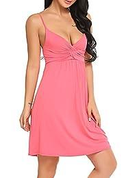 963548a9b67708 BeautyUU Damen Nachthemd Nachtkleid Ärmellos Schwangerschaft Kleid Baumwolle  Sexy Negligee Sleepwear V Ausschnitt…
