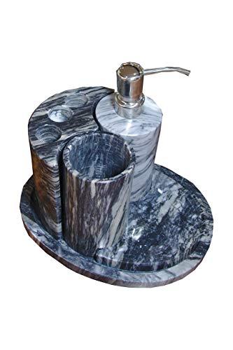 Badset 5-teilig mit Seifenspender, Zahnglas und Zahnbürstenhalter in Grau aus Onyx Marmor. Badset ist ein handgemachtes Unikat von Künstlern aus der Onyx Art Manufaktur in Mexiko