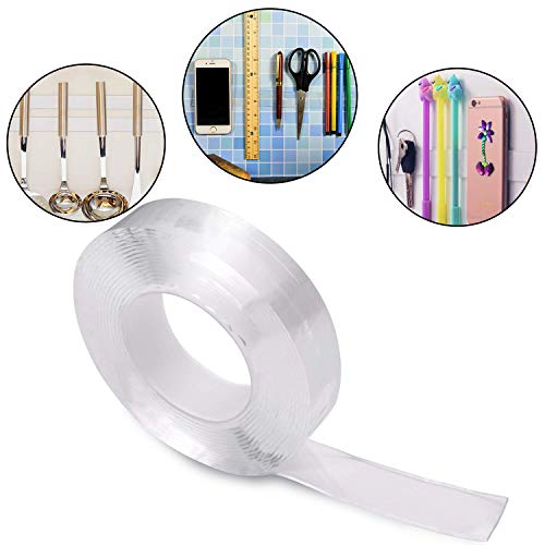 Preisvergleich Produktbild Wanbor 3 Meters Double Sided Gel Tape Clear Washable Grip Tape Adhesive Gel Tape Roll Anti-Slip Traceless Tape for Home Supplies (3 m / 9.84 ft Long,  2 mm Thick)