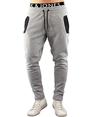 JACK & JONES Herren Jogginghose jjcoSTAD Sweatpants Trainingshose Tight Fit (XL, Grau (Light Grey Melange Fit:TIGHT))