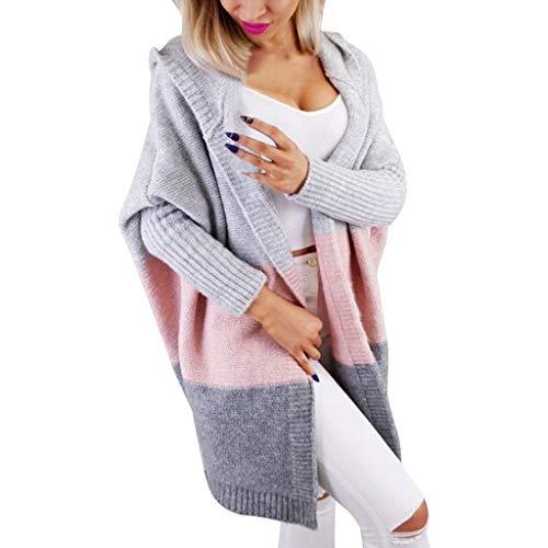 DOFENG Damen Herbst Winter Feiertags Volltonfarbe Strickjacke beiläufige gestrickte lose Lange Hülsen Pullover offene Jacke (Rosa, Medium)