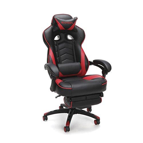 RESPAWN-110 Gaming-Stuhl im Rennstil - ergonomischer Lederstuhl mit Fußstütze, Büro- oder Gaming-Stuhl Schreibtischstuhl rot