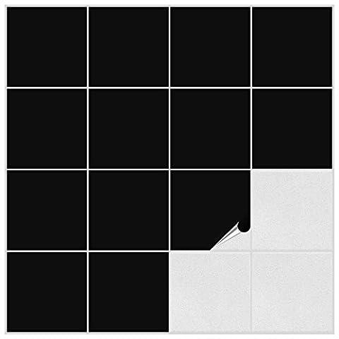 Fliesenaufkleber für Bad und Küche - 15x15 cm - schwarz
