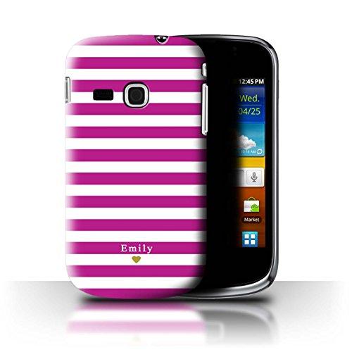 Stuff4 Personalizzato Strisce/Banda Personalizzare Custodia/Cover per Samsung Galaxy Mini 2/S6500 / Fucsia Cuore Rosa Design/Iniziale/Nome/Testo Caso/Cassa