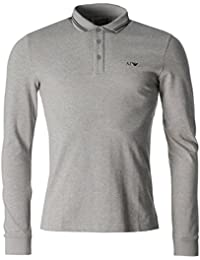 Armani Jeans Long Sleeved Modern Fit Tipped Polo Large GREY