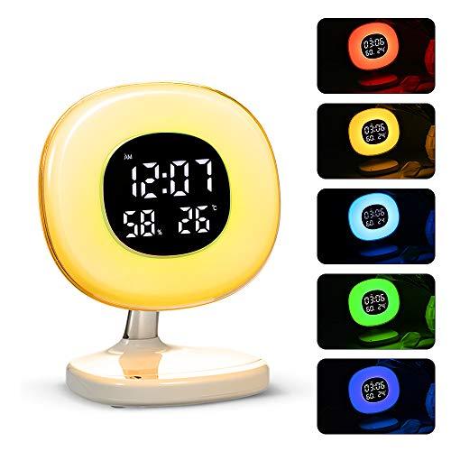 Decdeal LED Wake up Light Wecker Tischlampe mit 5 Lichtmodi Sunrise Simulation Snooze Funktion für Kids Heavy Sleepers Temperatur Luftfeuchtigkeits Anzeige