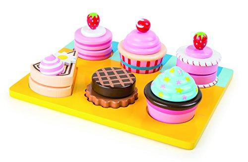 """Schneide """"Cupcakes und Torten"""" aus Holz, Einzelteile sind durch Klettverschlüsse miteinander verbunden und lassen sich individuell und abwechslungsreich zusammensetzen, Schneidespielzeug ab 3 Jahre"""