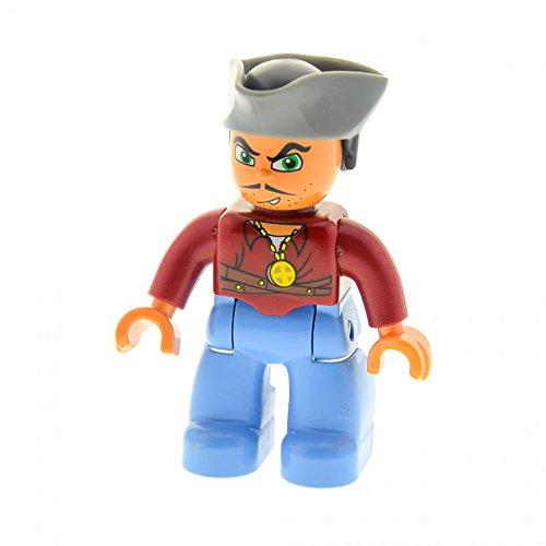 1 x Lego Duplo Figur Pirat hell blau mit Kette Matrose Seemann Hut dreieckig 47394 A78