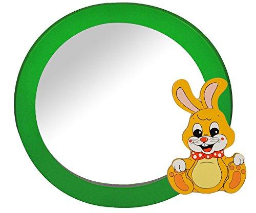 2 in 1: runder Bilderrahmen + Spiegel / Wandspiegel aus massiven Holz - Hase in grün - Kinderzimmer - Tiere - für Kinder die Wand - Tier - Mädchen Jungen Häschen Hasen Bilder Rahmen