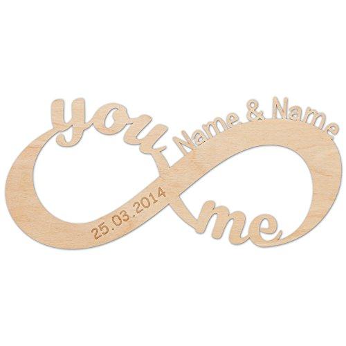 Unendlichkeitszeichen - You and Me - aus Holz mit Ihren Namen Zeichen der Liebe schöne Geschenkidee für verliebte Paare zur Hochzeit Verlobung & Jahrestag (Infinity-wandtattoos Um Den Sie Lieben,)