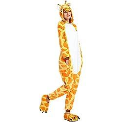 Rainbow Fox Unicornio Pijama Adultos Cosplay Disfraz Animal Ropa de Dormir Franela Novedad Víspera de Todos los Santos Navidad Ropa (M, Jirafa)