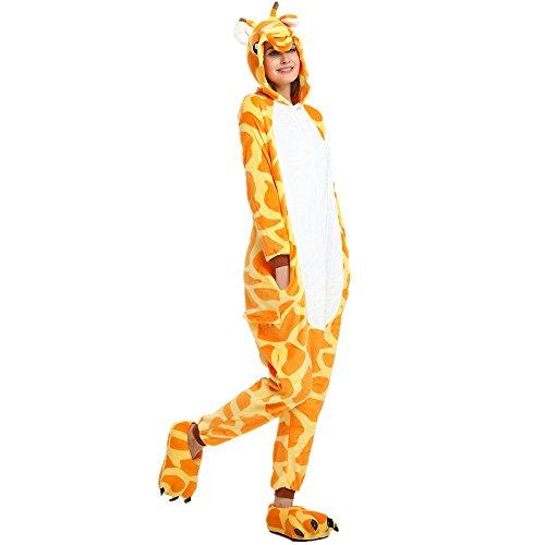 Rainbow Fox Einhorn Pyjama Erwachsene Unisex Cosplay Kostüm Tier Nachtwäsche Flanell Neuheit Halloween Weihnachten Kleider (S, Giraffe)