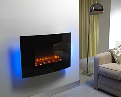 """BeModern 36"""" Orlando Curved Glass Wall Mounted Fire"""