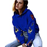 Sweatshirt Damen Kapuzenpullover Pullover Langarmshirt Patchwork T-Shirt Blumendruck Jumper Hoodie Sweatshirt mit Kapuze Tops Bluse,ABsoar