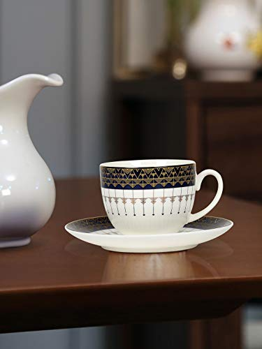 @home by Nilkamal Royal Cup & Saucer Set of 6, Indigo & Gold