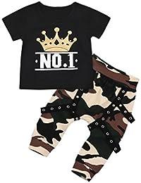 zolimx_bebé Conjunto Ropa Para Niños, Zolimx Estampado de Letra Pequeños 'No.1'T Camisa Tops + Pantalones Cortos Camuflaje