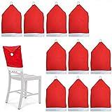 10 Fundas protectoras para sillas temáticas de Navidad - Rojo y blanco con pompones - Perfecto para fiestas y celebraciones n
