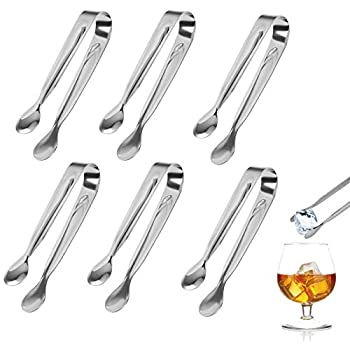 ZoomSky 6pcs Sugar Tongs U-Shaped Stainless Steel Candy Tongs Mini Serving Silver Tongs for Wedding Birthday Party Kitchen Bar