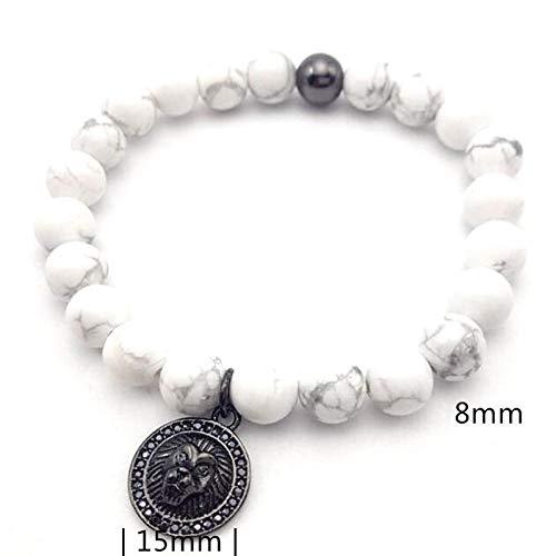 YCWDCS Armband 1 stückeNeue topMarke Frau männerLion Armband 8mm natürliche howlith marmor Beads & Micro PaveBlack Lion armbänder