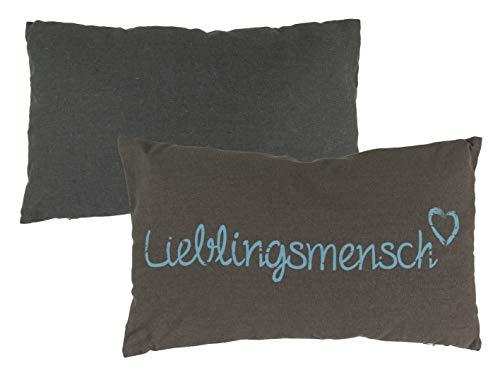 MC Trend Lieblingsmensch Kissen Sofakissen Dekokissen Geschenk-Idee (Kissen Schrift blau)