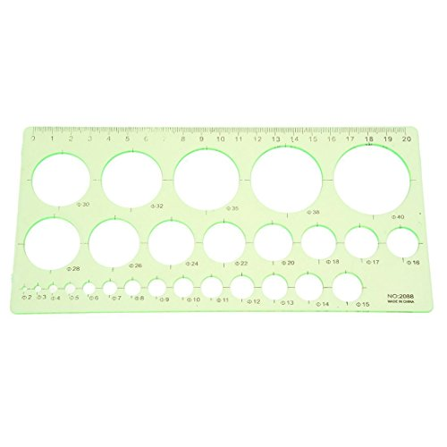 MTSZZF Verde Regla de plantilla de circulo de dibujo forma rectangula de estudiantes de plastico
