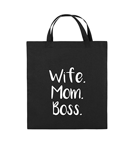 Comedy Bags - Wife Mom Boss - Jutebeutel - kurze Henkel - 38x42cm - Farbe: Schwarz / Pink Schwarz / Weiss