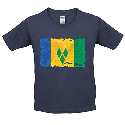 Saint Vincent and the Grenadines / St. Vincent und die Grenadinen Flagge im Grunge-Stil - Kinder T-Shirt - Navy - XL (12-14 Jahre)