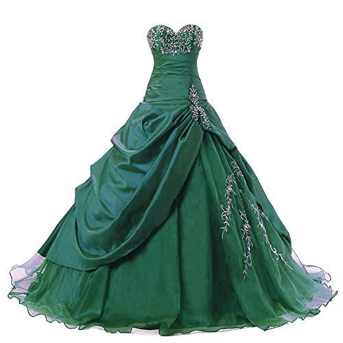 Zorayi Damen Trägerlos Lange Taft Abschlussball Kleid Ballkleid Promkleider Smaragd Größe 56