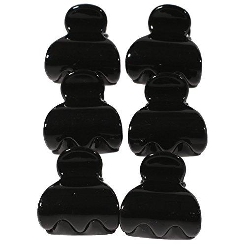 Lot de 6 Mini Pinces Crabe à Cheveux en Plastique Noir - 2,8 cm - Accessoire Coiffure