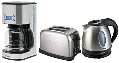 H.koenig Frühstücksset: Edelstahl-Kaffeemaschine+Wasserkocher+Toaster in einem Set