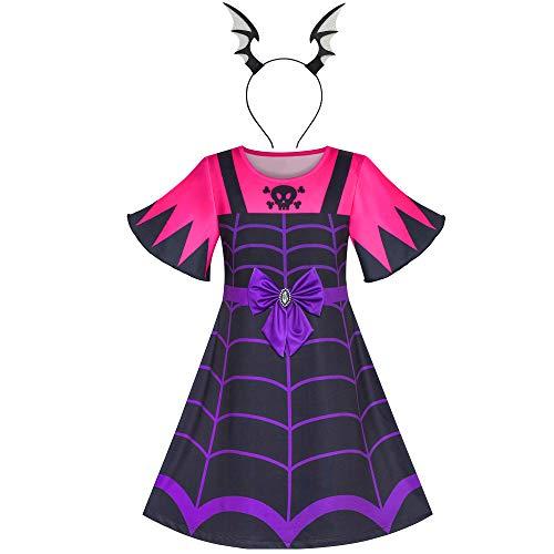 Sunny Fashion Vestito Bambina 2-in-1 Vampiro Costume di Halloween Fascia per Capelli 4 Anni