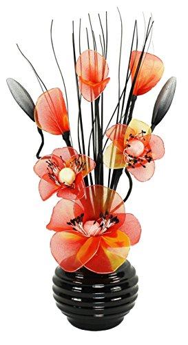 Orange Künstliche Blumen Mit Schwarz Vase, Deko, Wohnaccessoires & Deko Geeignet für Bad, Schlafzimmer Oder Küche Fenster / Regal, 32cm