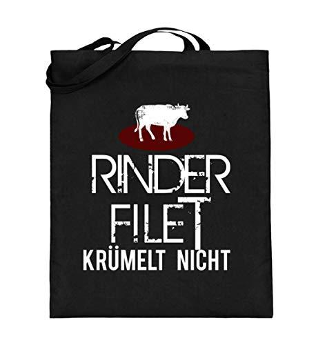 Lustiges Rinder Filet Krümelt Nicht! - Fleisch BBQ Veggie Vegan Grillen Essen Food Anti - Jutebeutel (mit langen Henkeln)