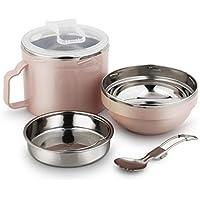 Preisvergleich für Edelstahl Lunchbox 1 Liter Lunchbox Mit Zwei Sektionen, Kleiner Sauce Pot