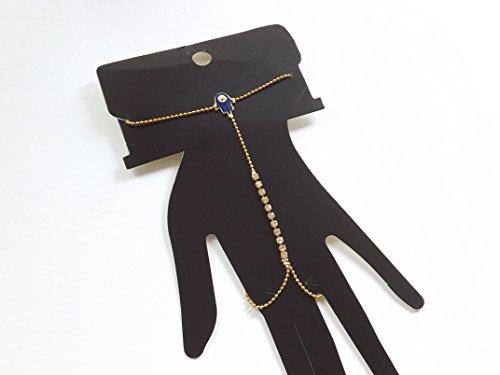 Braccialetto anello mano collana mano drachensilber-motivo mano di Fatima-Strass-colore oro Sahmeran schiavo Braccio catena occhio (Evil Eye Anello)