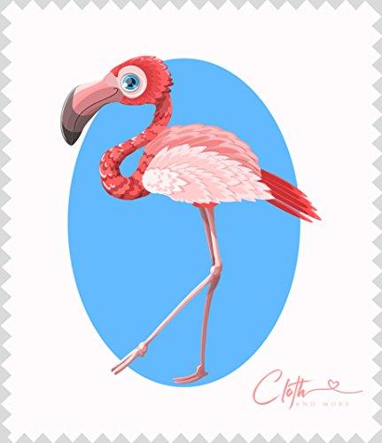 Mikrofaser-Reinigungstuch Flamingo mit Kreis - Brillen-Putztuch 15 x 17,5 cm Tuch zur Reinigung von Displays, Linsen etc.