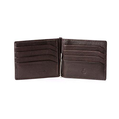 DV Portafoglio uomo Fermasoldi in Vera Pelle Nappa Luxury con 8 tasche Porta Carte Tessere Marrone scuro