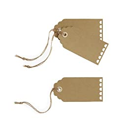 Ginger Ray Kraft Scalloped Edge Luggage/Manilla Gift Tags (10 Pack) with Twine for Wedding, Brown